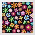 Spring Flowers Colorful Naif Design Canvas Print