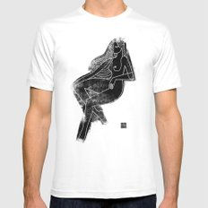 Seated Figure Black White SMALL Mens Fitted Tee