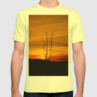 Lone tree sunset Mens Fitted Tee Lemon SMALL