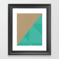 Cardboard & Aqua Stripes Framed Art Print