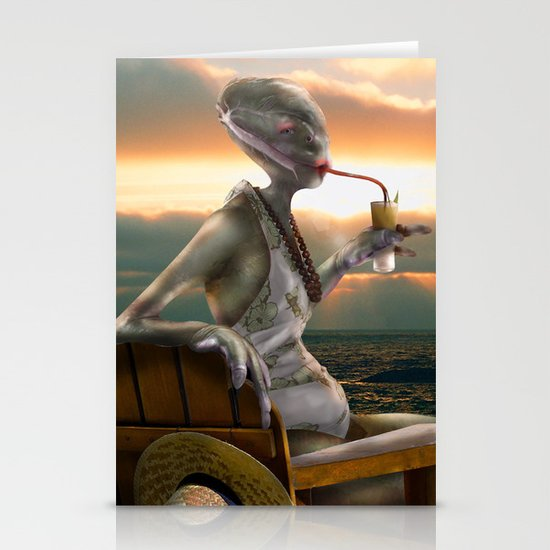 Alien Abroad Stationery Card