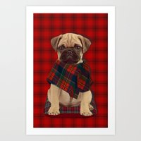 The Plaid Poncho'ed Pug Art Print