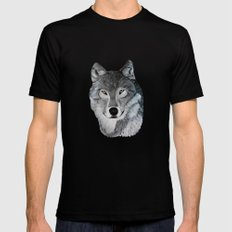 Wolf portrait SMALL Black Mens Fitted Tee