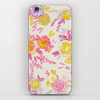 Flower garden in pink and yellow iPhone & iPod Skin