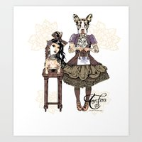 Kawaii and dog Tonton AL 2013 Art Print