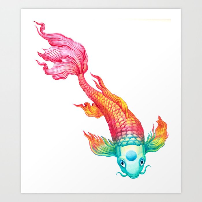 Rainbow koi fish art print by sanjana baijnath society6 for Koi fish framed prints