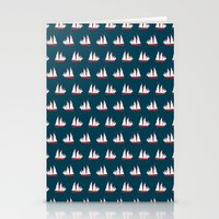 Sailing ships on navy pattern Stationery Cards