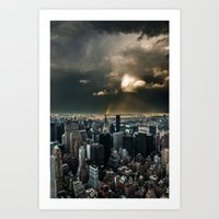 Great Skies Over Manhatt… Art Print