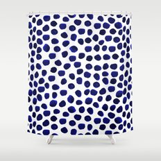 Indigo Spots dots minimal modern abstract painting boho dorm college decor monochromatic nautical Shower Curtain