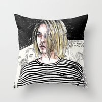 Throw Pillow featuring I'm not like them, but i can pretend. -  Kurt c by Lucas David