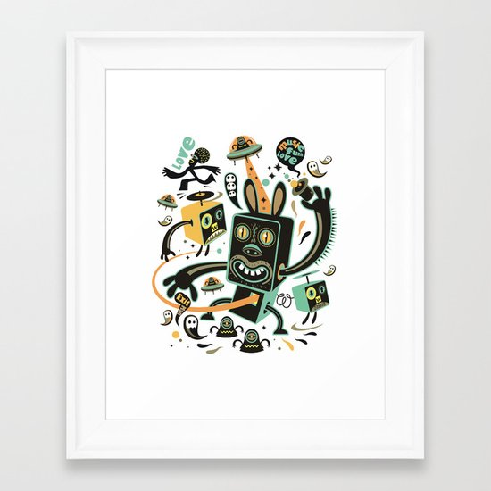 Little Black Magic Rabbit Framed Art Print