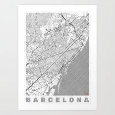 Barcelona Map Line Art Print