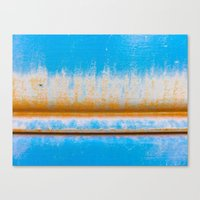 Blue, Yellow and two lines Canvas Print