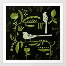 GREEN ON BLACK WITH BIRDS Art Print