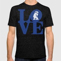 Robot LOVE - Blue Mens Fitted Tee Tri-Black SMALL