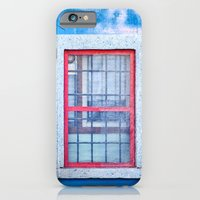 Window with red frame on blue wall iPhone 6 Slim Case