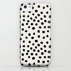 Preppy brushstroke free polka dots black and white spots dots dalmation animal spots design minimal iPhone 5c Slim Case