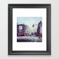First Snow In The City Framed Art Print