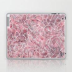 Burgundy red and white swirls doodles Laptop & iPad Skin