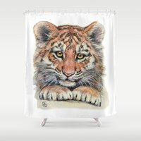 Cute Tiger Cub 903 Shower Curtain