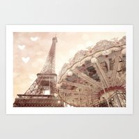 Eiffel Tower Carousel Dr… Art Print