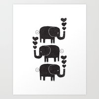 elephants Art Prints featuring ELEPHANTS by Matthew Taylor Wilson