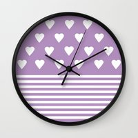 Heart Stripes Orchid Wall Clock