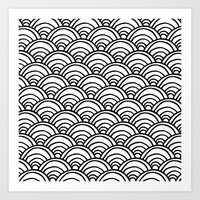 Waves All Over - Black A… Art Print