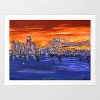 Ben Franklin Bridge Suns… Art Print