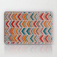 Teal, Red and Goldenrod chevron Laptop & iPad Skin