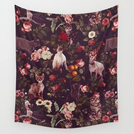 Wall Tapestry - Cat and Floral Pattern - Burcu Korkmazyurek