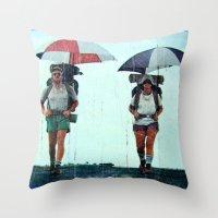Rain Hiking Throw Pillow