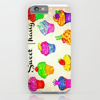 iPhone & iPod Case featuring SWEET THANG - Cupcakes Sweet Sugary Goodness, Yummy Treat Romantic Colorful Bakery Illustration by EbiEmporium