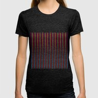 Happy Wobbly Lines II Womens Fitted Tee Tri-Black SMALL
