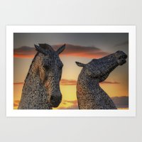 Kelpies Of Scotland Art Print