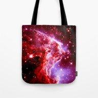 Burgundy Nebula Galaxy Tote Bag