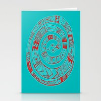 Snake Entwine - red blue folk art pattern  Stationery Cards