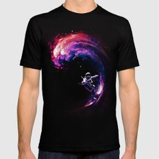 Space Surfing Mens Fitted Tee Black SMALL