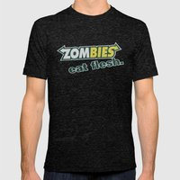 Zombie Eat Flesh Mens Fitted Tee Tri-Black SMALL