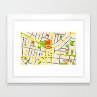 Tel Aviv map design - written in Hebrew Framed Art Print