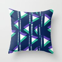 Blue & Green triangles Throw Pillow