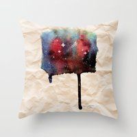Little Nebula Watercolor Throw Pillow