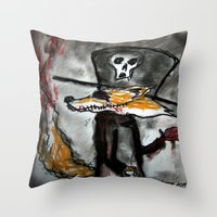 Dandy Fox Demonic Throw Pillow