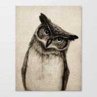 Canvas Print featuring Owl Sketch by Isaiah K. Stephens