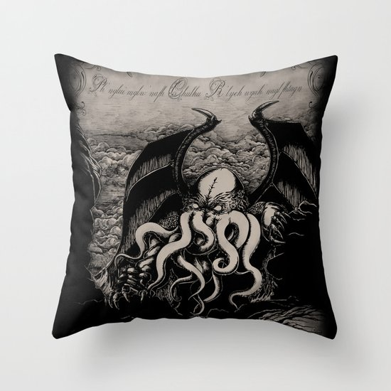 The Rise of Great Cthulhu Throw Pillow