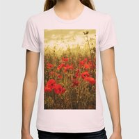 Poppy Glow Womens Fitted Tee Light Pink SMALL