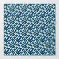 colorful geometric diamonds ocean colors Canvas Print