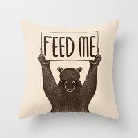 Feed Me Bear Throw Pillow