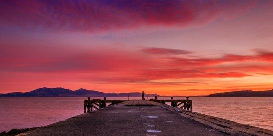 Sunset and Fishermen Art Print