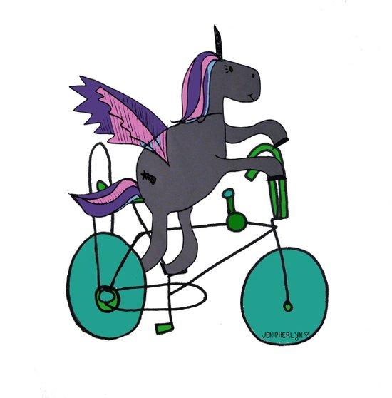 Unicorns LOVE bikes. Art Print